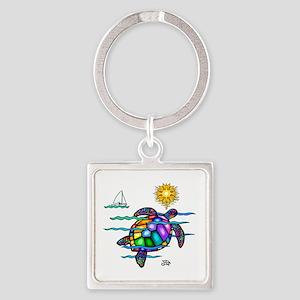 Sea Turtle (nobk) Square Keychain
