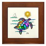 Sea Turtle (nobk) Framed Tile