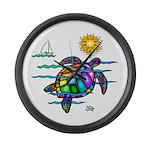 Sea Turtle (nobk) Large Wall Clock