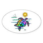Sea Turtle (nobk) Sticker (Oval 50 pk)