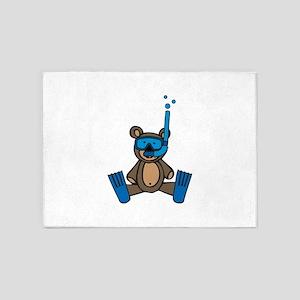 Scuba Teddy Bear 5'x7'Area Rug