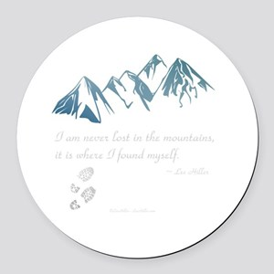 Never Lost in the Mts Round Car Magnet