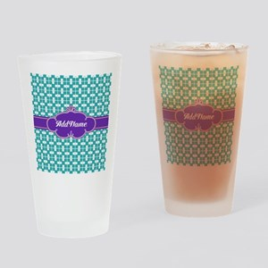 Purple Turquoise Personalized Name Drinking Glass