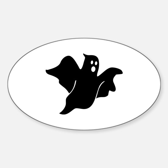 Black scary ghost Sticker (Oval)