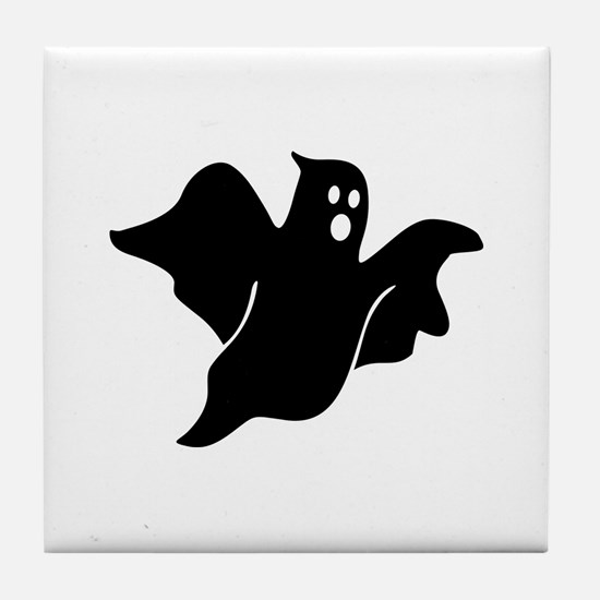 Black scary ghost Tile Coaster