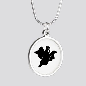 Black scary ghost Silver Round Necklace