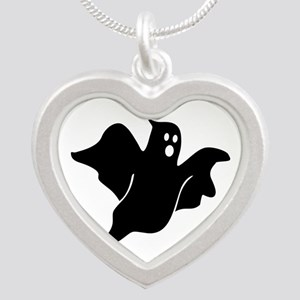 Black scary ghost Silver Heart Necklace