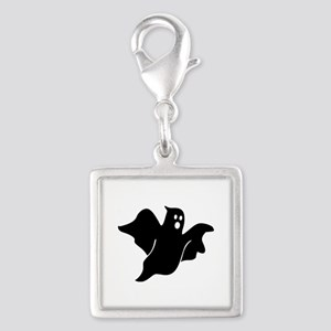 Black scary ghost Silver Square Charm