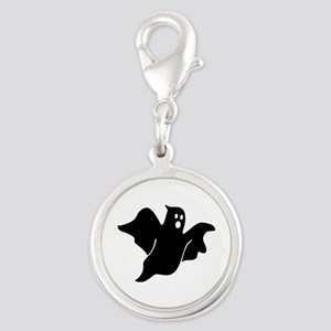 Black scary ghost Silver Round Charm