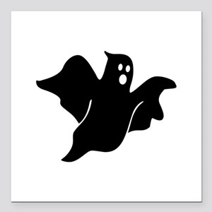 """Black scary ghost Square Car Magnet 3"""" x 3"""""""