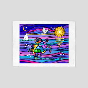 Sea Turtle #4 5'x7'Area Rug
