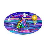Sea Turtle #4 Oval Car Magnet