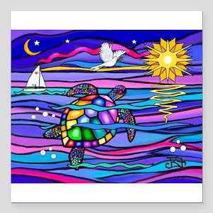 "Sea Turtle #4 Square Car Magnet 3"" x 3"""