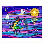 Sea Turtle #4 Square Car Magnet 3