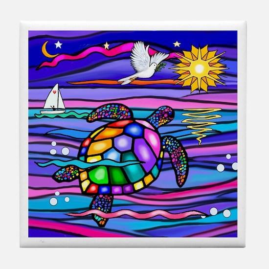 Sea Turtle #4 Tile Coaster