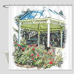 Rose garden gazebo Shower Curtain