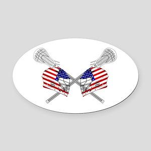 Two Lacrosse Helmets Oval Car Magnet