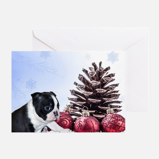 Christmas Boston Terrier Greeting Cards
