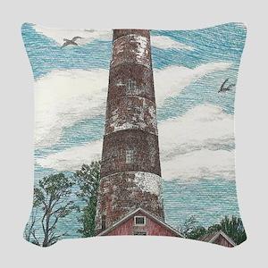 Assateague Island Lighthouse Woven Throw Pillow
