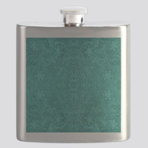 Blue-Green Suede Leather Look Embossed Flora Flask