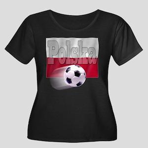 Soccer Flag Polska Women's Plus Size Scoop Neck Da