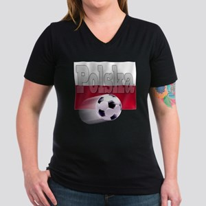 Soccer Flag Polska Women's V-Neck Dark T-Shirt