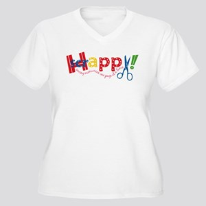 Happy Scrappy Women's Plus Size V-Neck T-Shirt