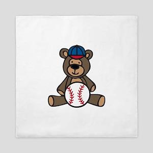 Baseball Teddy Bear Queen Duvet