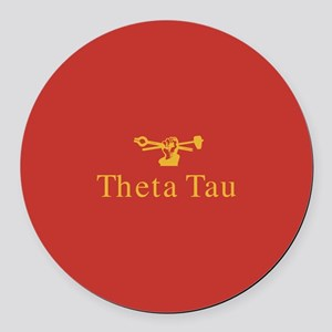 Theta Tau Fraternity Name and Cre Round Car Magnet