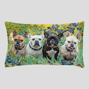 Irises-4 French Bulldogs Pillow Case