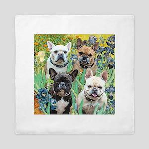 Irises-4 French Bulldogs Queen Duvet