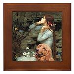 Ophelia & Golden Retriever Framed Tile