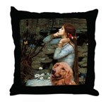 Ophelia & Golden Retriever Throw Pillow