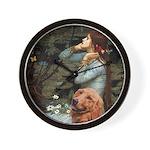 Ophelia & Golden Retriever Wall Clock