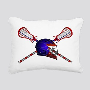 Lacrosse Helmet with sti Rectangular Canvas Pillow