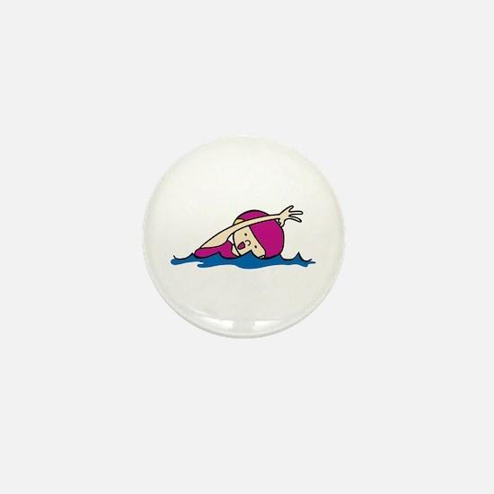 Swimmer Girl Mini Button