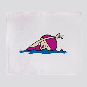 Swimmer Girl Throw Blanket