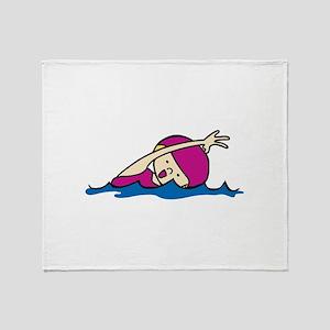 Swimmer Girl Throw Blanket
