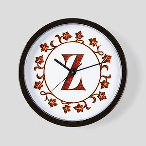 Letter Z Monogram Wall Clock