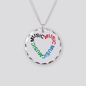 Music Text Heart Necklace Circle Charm