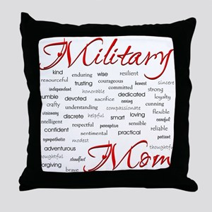 Military Mom poem of words Throw Pillow