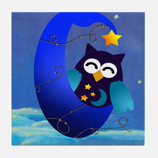 Night Time Owl Tile Coaster