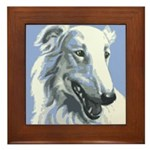 Borzoi Portrait White-Blue Framed Tile