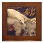 Borzoi Lounging Framed Tile