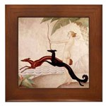 Art Deco Borzoi Diana Framed Tile