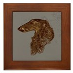 Borzoi Head Study Framed Tile