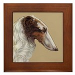Framed Borzoi Head Tile