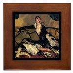 Deco Lady Borzoi Framed Tile