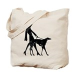 Art Deco Flapper Walking Borzoi Tote Bag