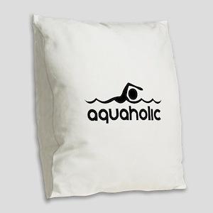 Aquaholic Burlap Throw Pillow